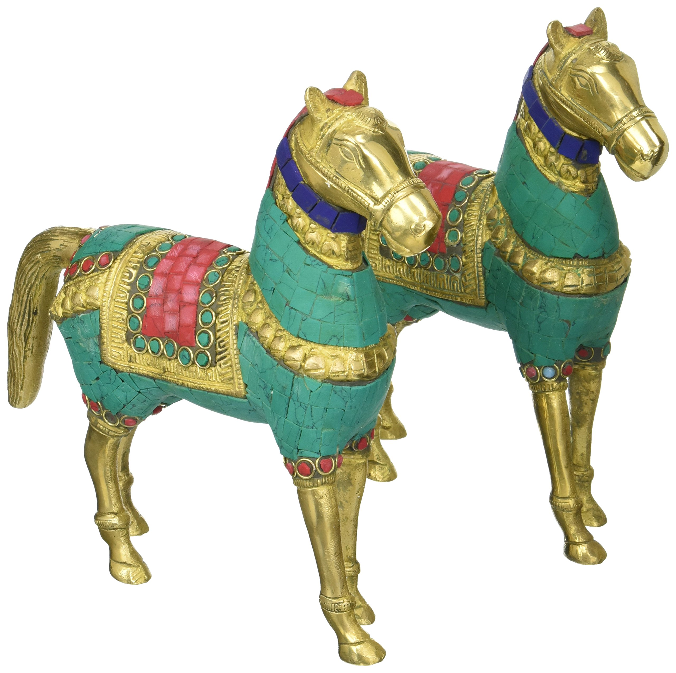 Aone India 8'' Pair Royal Horse Sculpture- Brass Metal with Gemstones Hand Work - Art Collectible Animal Figurine Statue ... + Cash Envelope (Pack Of 10)
