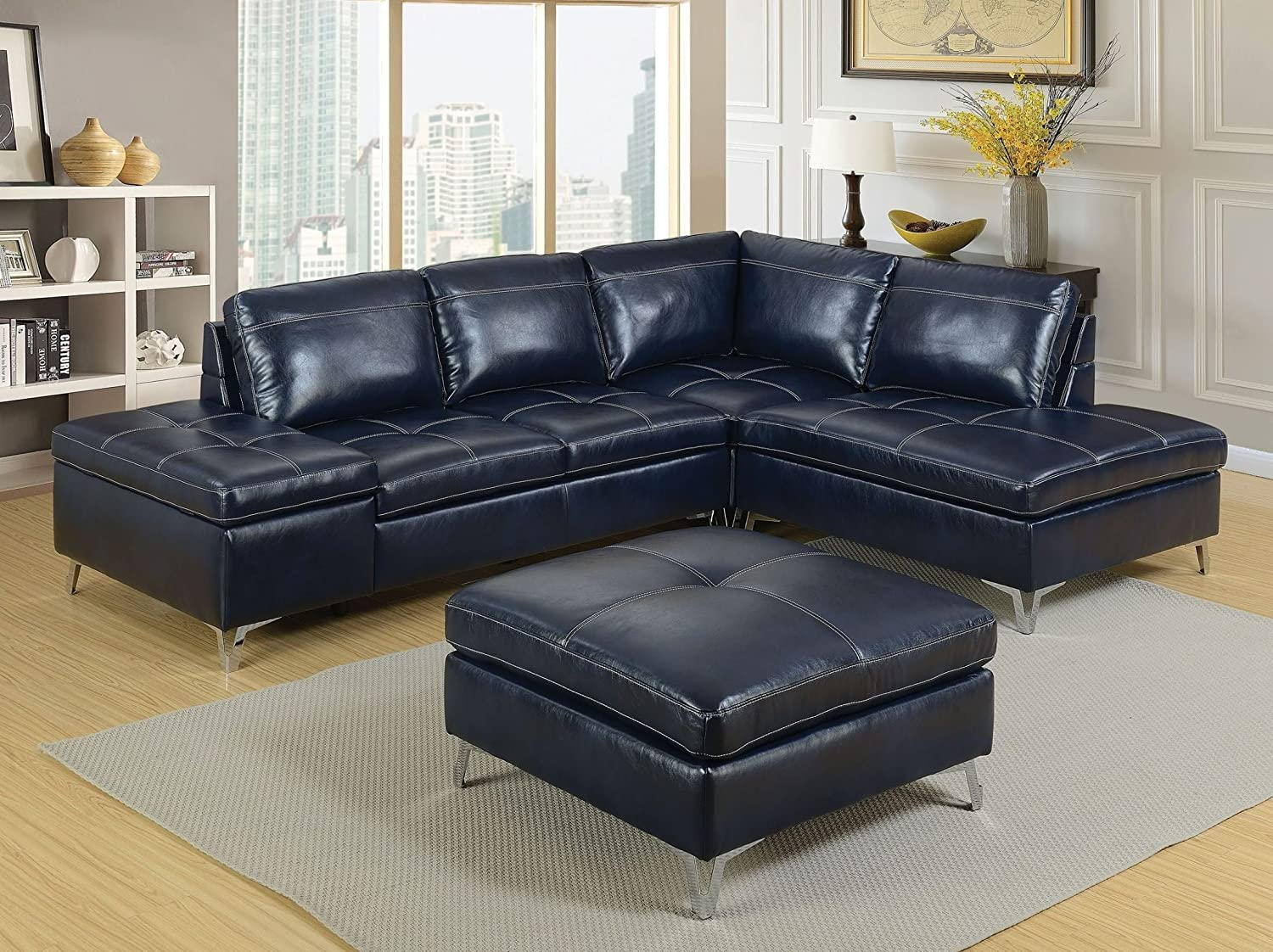 Amazon com esofastore contemporary sectional w ottoman leather gel dark blue tufted cushion chaise storage loveseat couch chrome legs living room