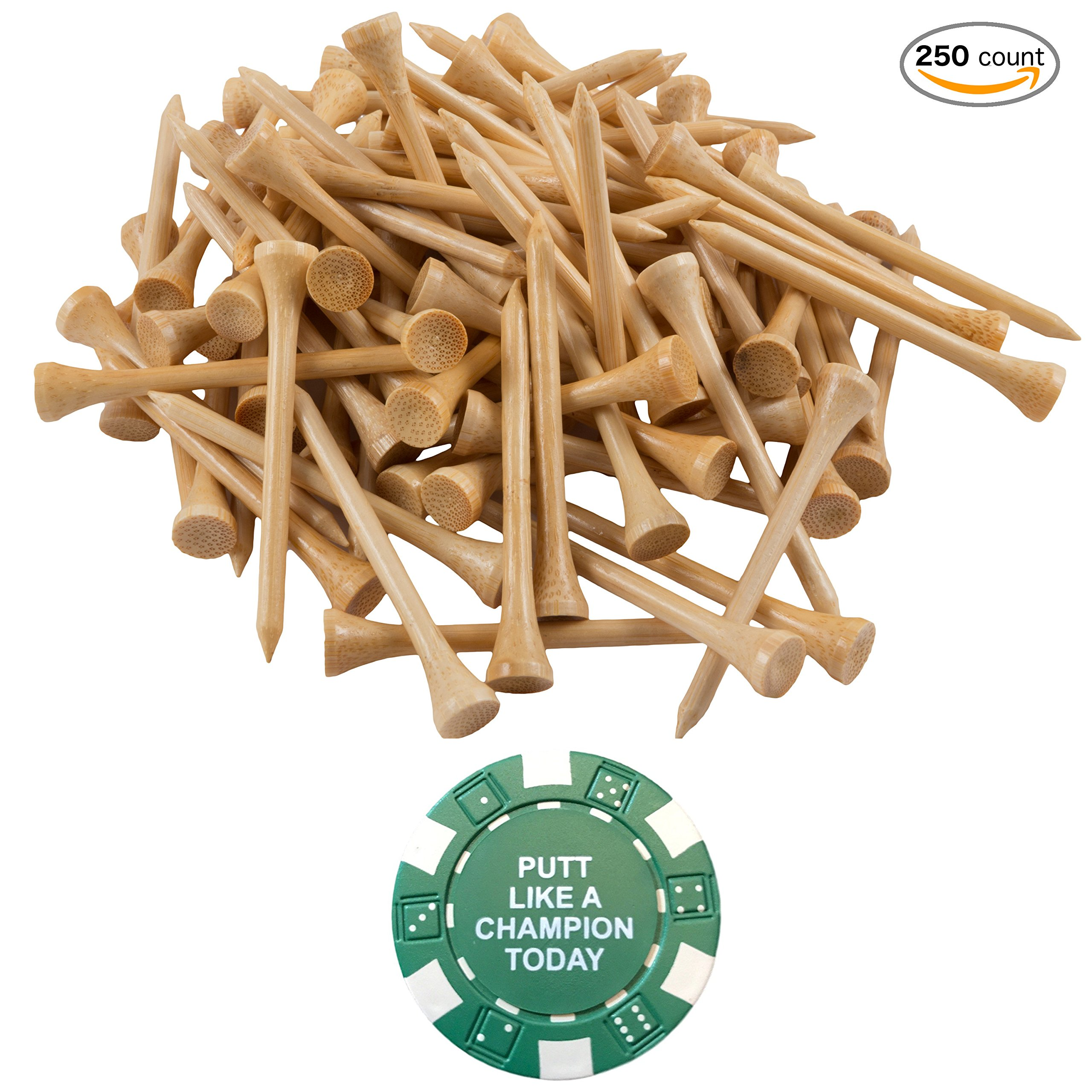 Wedge Guys 250 Count Professional Bamboo Golf Tees 2-3/4 inch - Free Poker Chip Ball Marker - Stronger Than Wood Tees Biodegradable & Less Friction PGA Approved