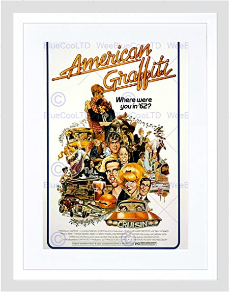 Advertising Movie Film American Graffiti Cult Lucas 12X16 Inch Framed Art Print