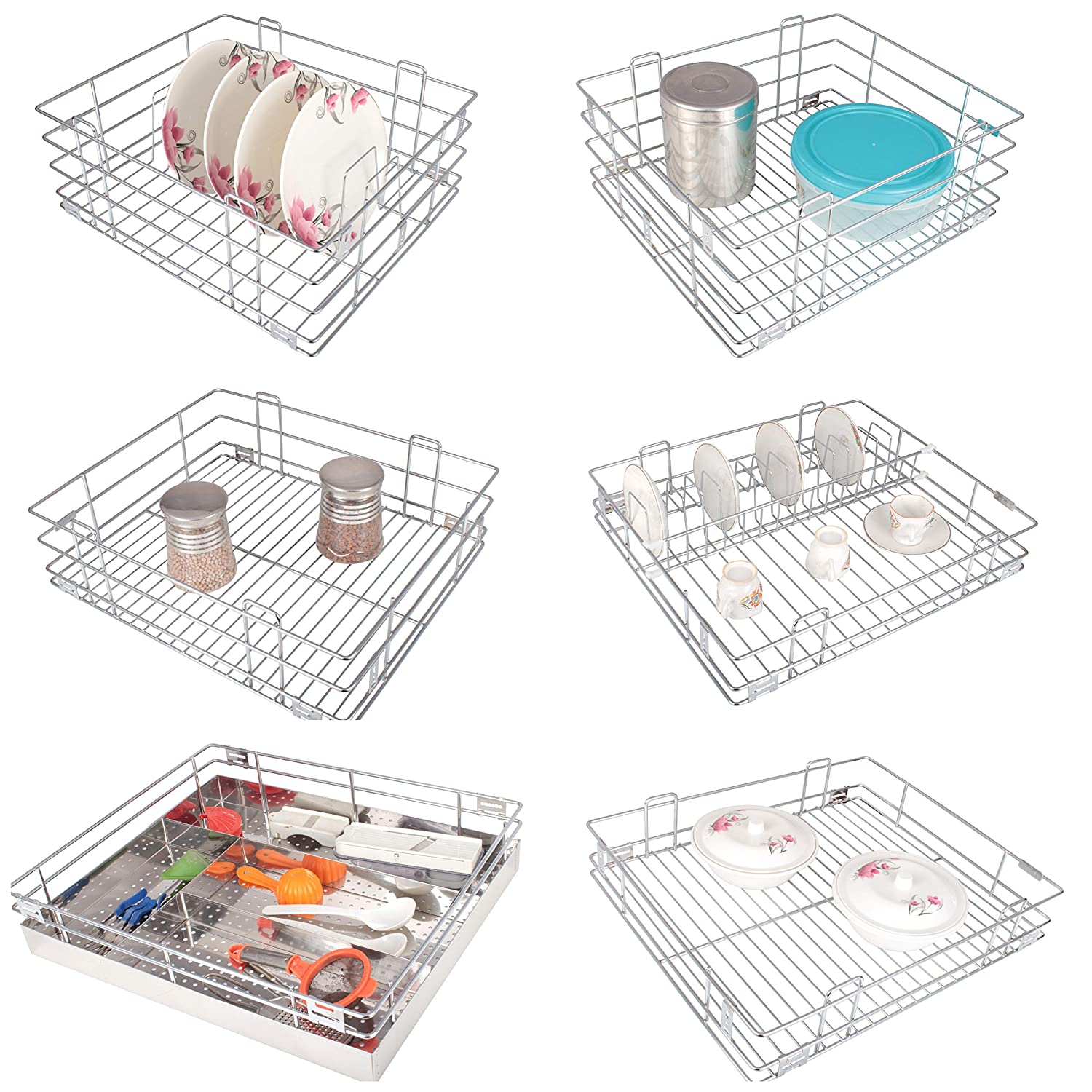 Kyc Stainless Steel Modular Kitchen Cabinet Storage Drawer Basket And Accessories Set Of 6 15x16 Inch Amazon In Home Improvement