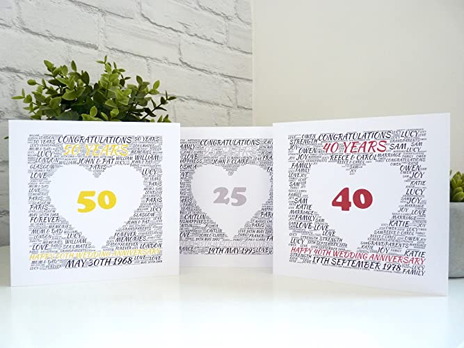 Personalised anniversary card 25th 40th 50th 65th wedding