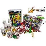 StepsToDo Ultimate Slime Lab. All in One. Make 20+ Slime. Milky, Unicorn Rainbow, Swirl, Crunchy, Foamy, Clear, Galaxy, Mermaid, Glitter, Sparkle, Jelly, PVA, Clear, White Glue