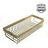 WEBI 15.7'' Rectangular Storage Basket Wire Container Shower Caddy Shelf,Wall Mounted Hanging Organizer for Bathroom, Kitchen, Bedroom, Garage, Storage Room,Champagne