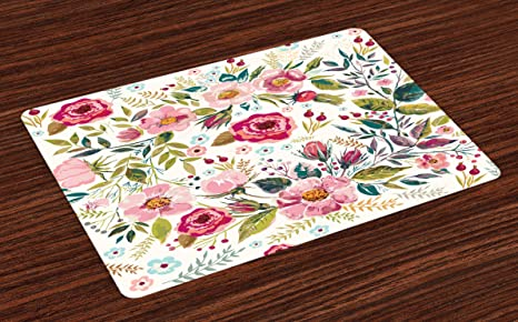 Amazon Com Lunarable Floral Place Mats Set Of 4 Shabby Form Flowers Roses Petals Dots Leaves Buds Spring Season Theme Image Artwork Washable Fabric Placemats For Dining Table Standard Size Magenta Home