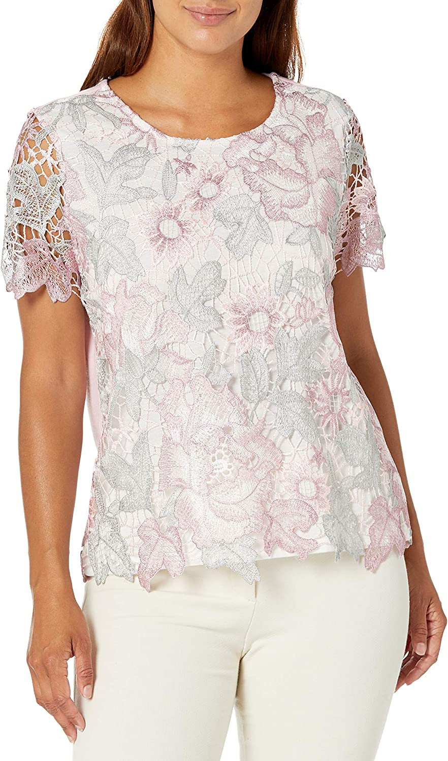 Alfred Dunner Womens Petite Lace Floral Top
