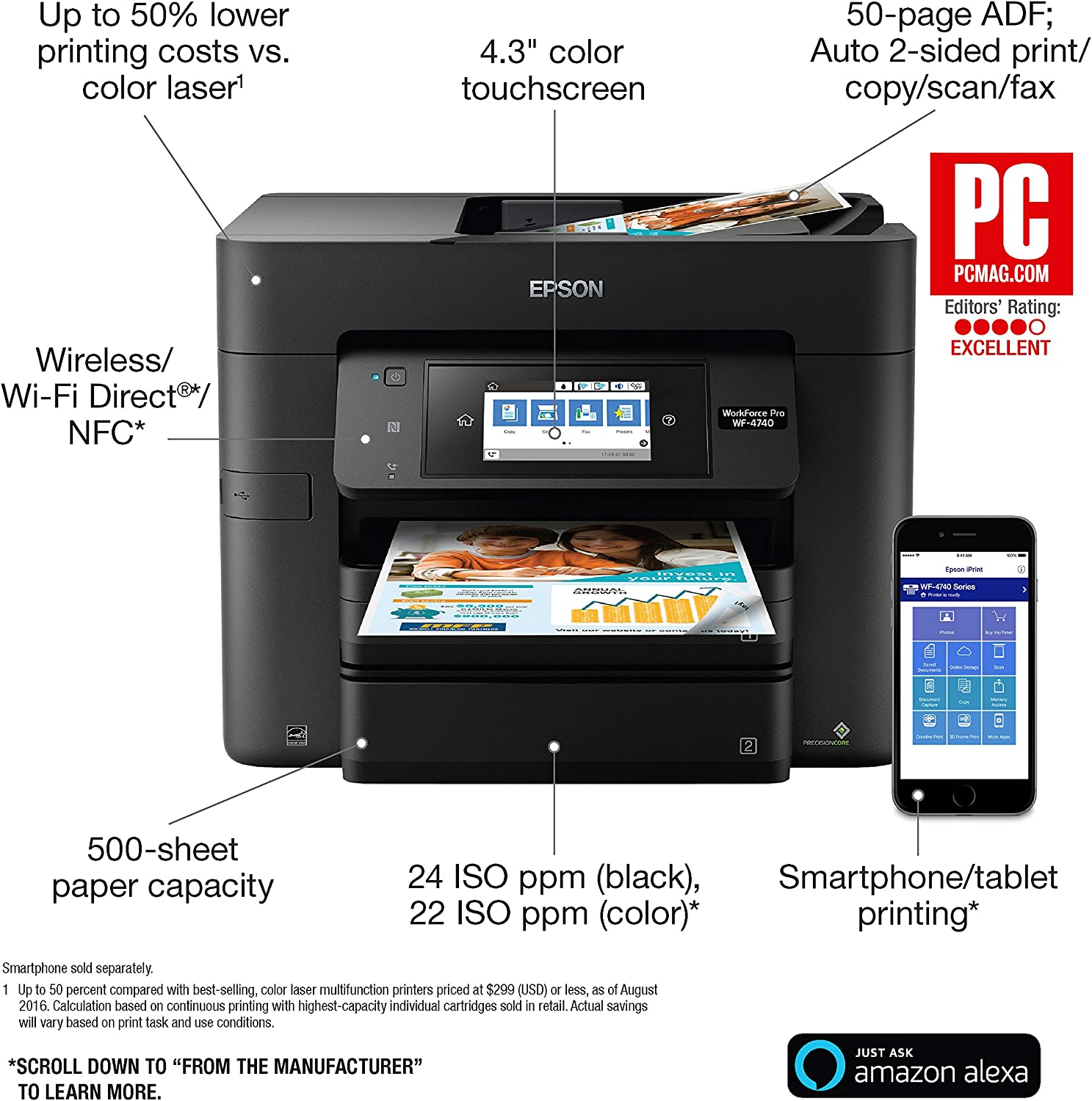 Copier Epson WorkForce Pro WF-4740 Wireless All-in-One Color Inkjet Printer Scanner with Wi-Fi Direct with Ultra Black Cartridge Ink and Ultra Color Combo Pack Cartridge Ink