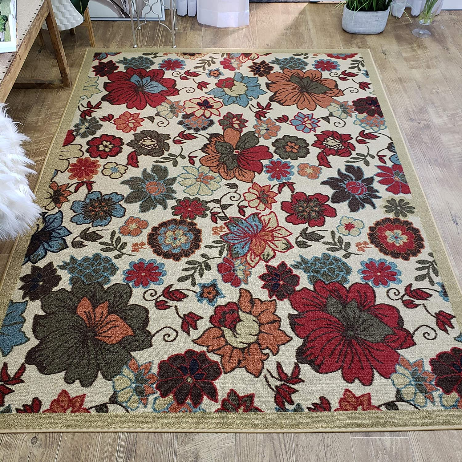 Area Rug 3x5 Beige Floral Kitchen Rugs and mats | Rubber Backed Non Skid Rug Living Room Bathroom Nursery Home Decor Under Door Clearance Entryway Floor Non Slip Washable | Made in Europe