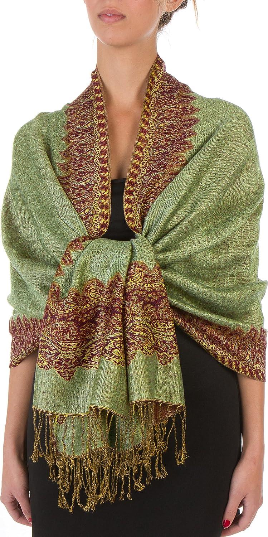 Sakkas 70 x 28 Boderder Pattern doppelschichtiger Pashmina Feel Schal / Stola (20+ Elegant Farben) - New 5056108338243
