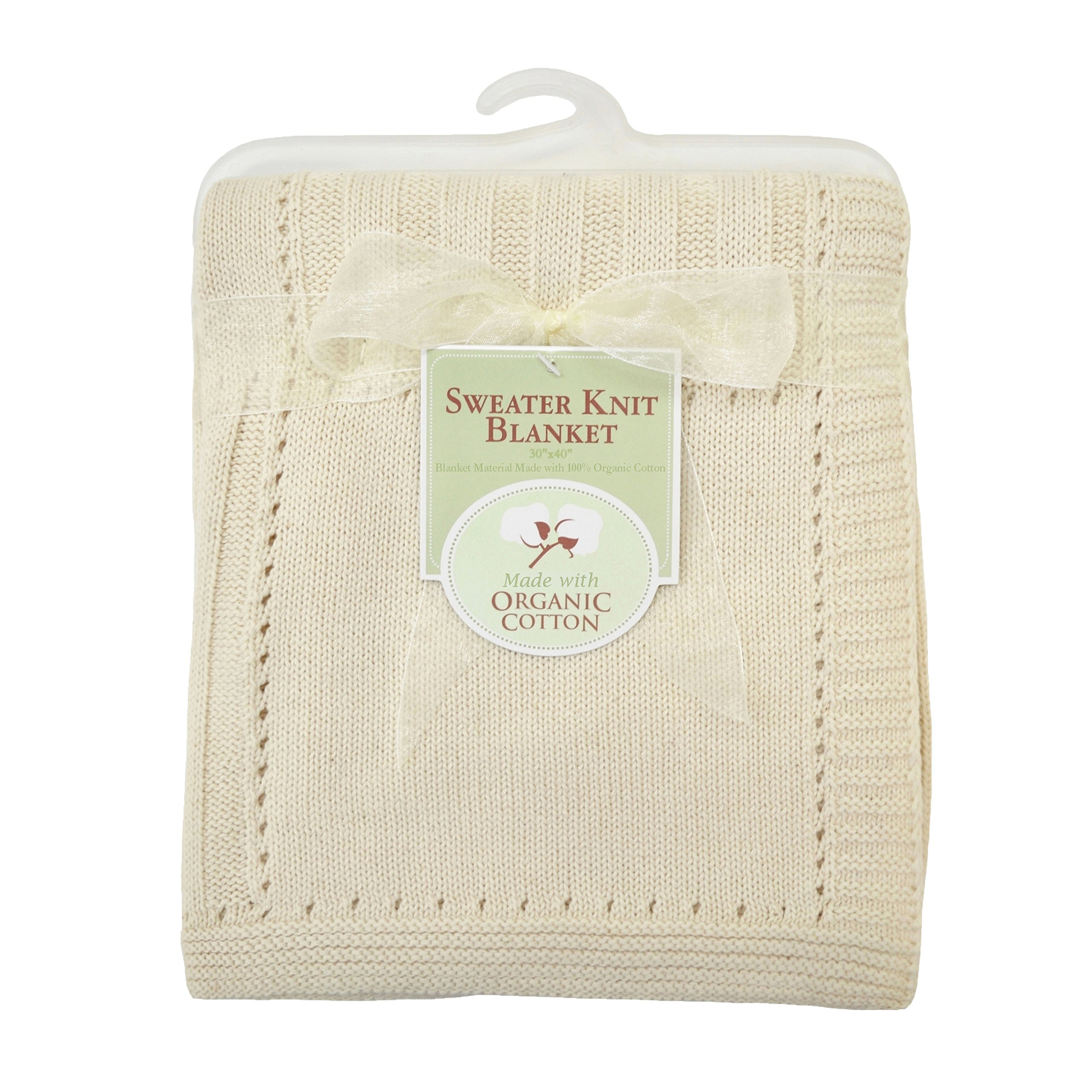 American Baby Company 83309 Organic Cotton Sweater Knit Blanket (Natural) product image