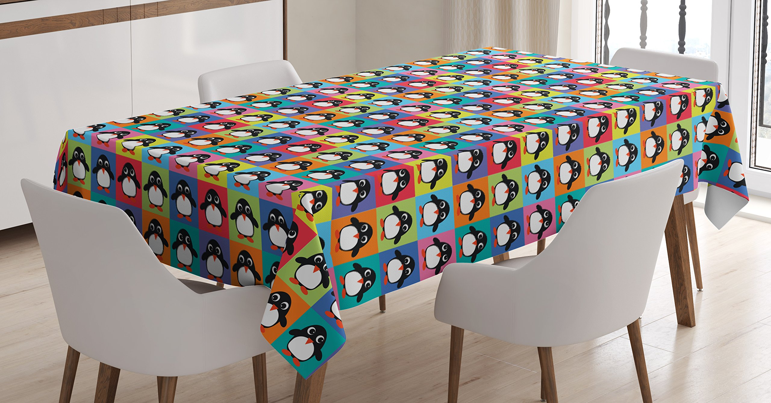 Ambesonne Penguin Tablecloth, Rainbow Colored Checkered Squares Pattern with Arctic Animal Cartoon Character, Dining Room Kitchen Rectangular Table Cover, 60 W X 90 L inches, Multicolor