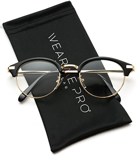77bae52c32 Image Unavailable. Image not available for. Color  WearMe Pro - Retro  Optical Frame Clear Lens Semi Rimless Glasses