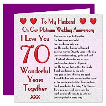 My Husband 70th Wedding Anniversary Card - On Our Platinum ...