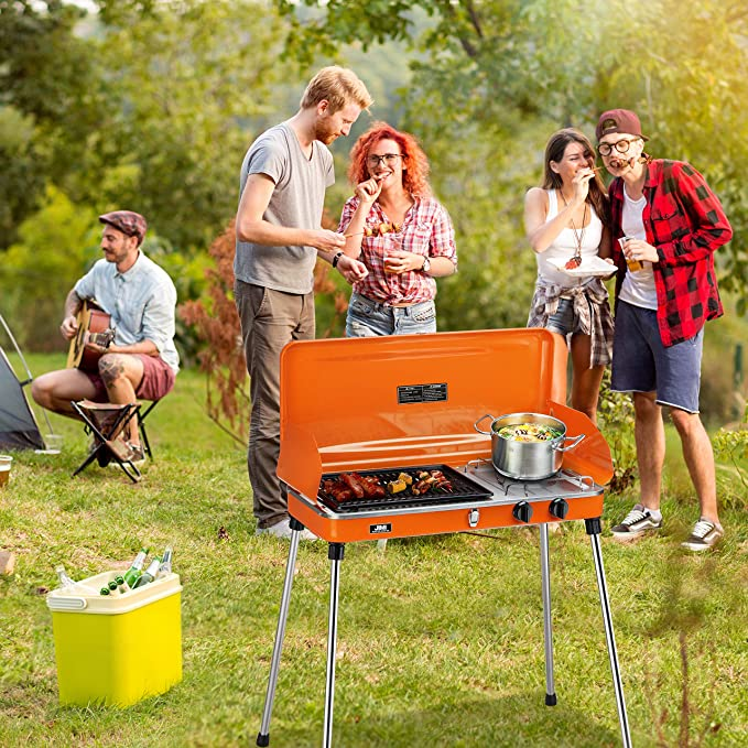 BaiHe Outdoor Dual-Burner Camping Grill//Stove Portable Gas Grill Tailgating Cooker with Hose and Adapter