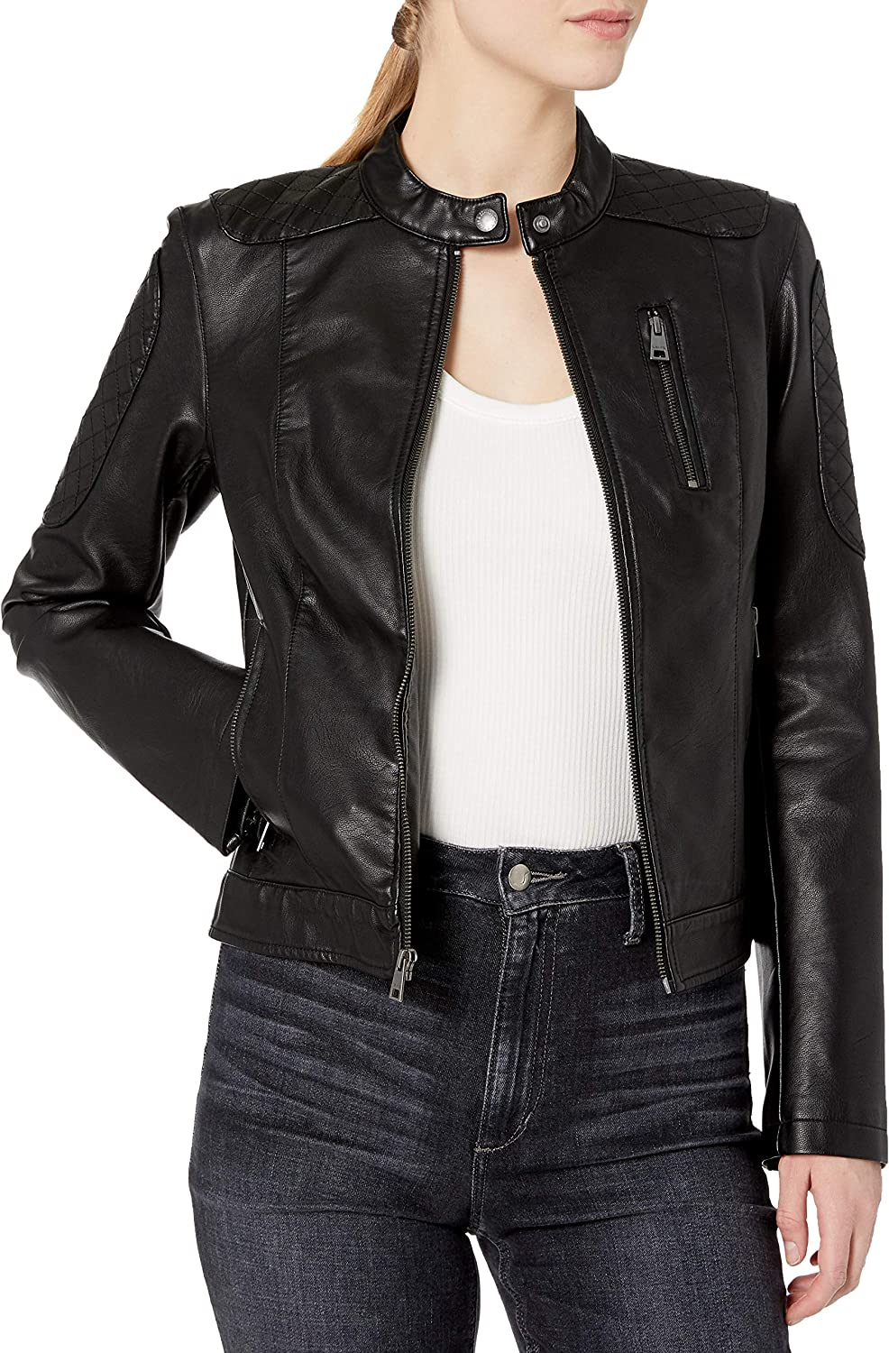 Levi's Women's Faux Leather Fashion Quilted Racer Jacket