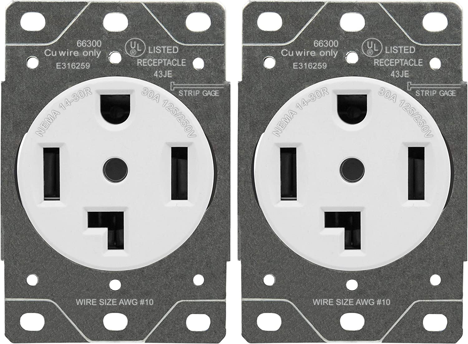 ENERLITES 30 Amp Dryer Receptacle Outlet, NEMA 14-30R | Residential Commercial Industrial Grade, Outdoor/Indoor, 3-Pole, 4 Wire, (10,8,6,4) AWG, | 125/250V, 66300-W, 2 Pack - White