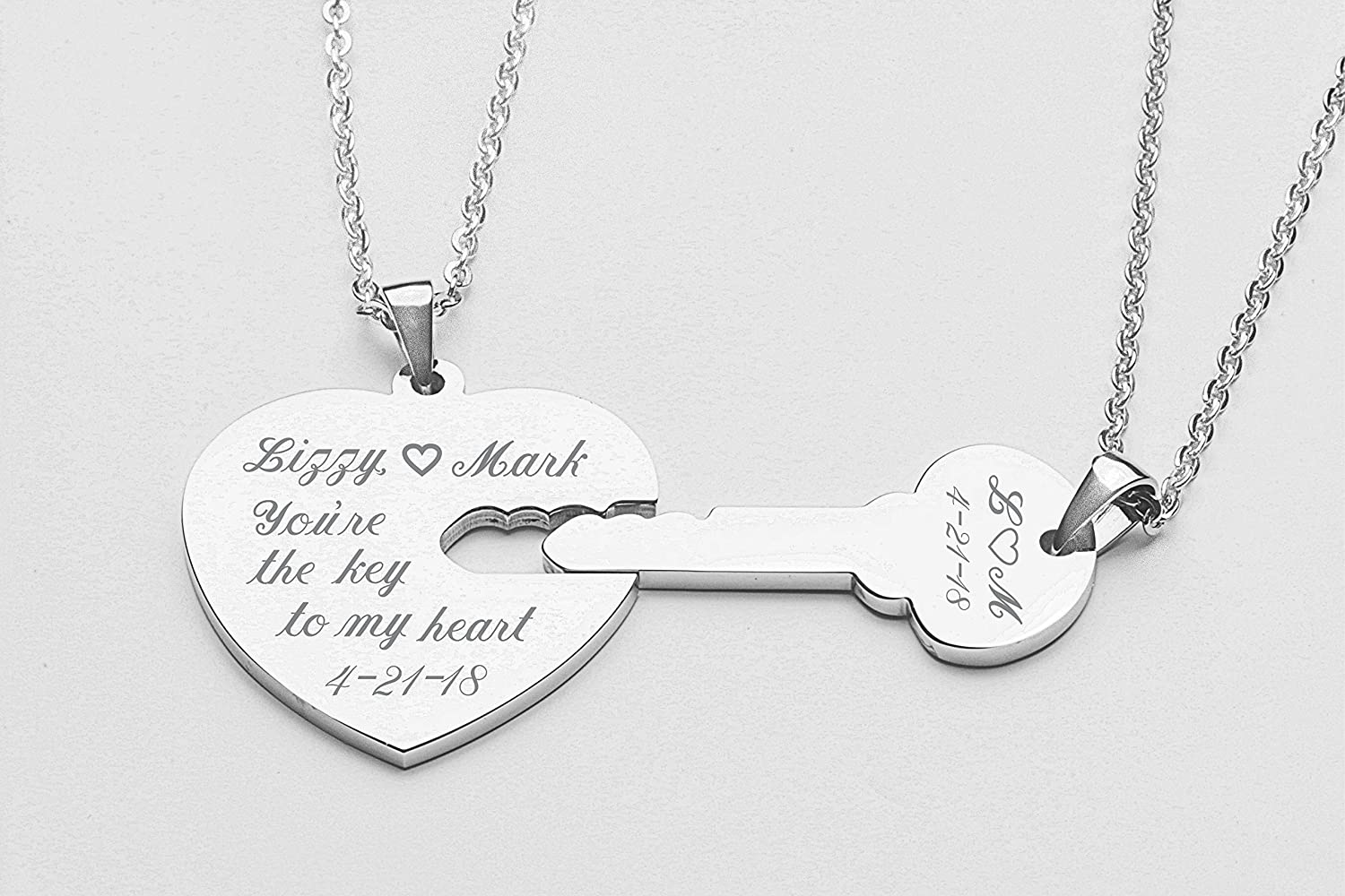 3b6e9867a91a2 Personalized Silver Heart & Key Necklace Set