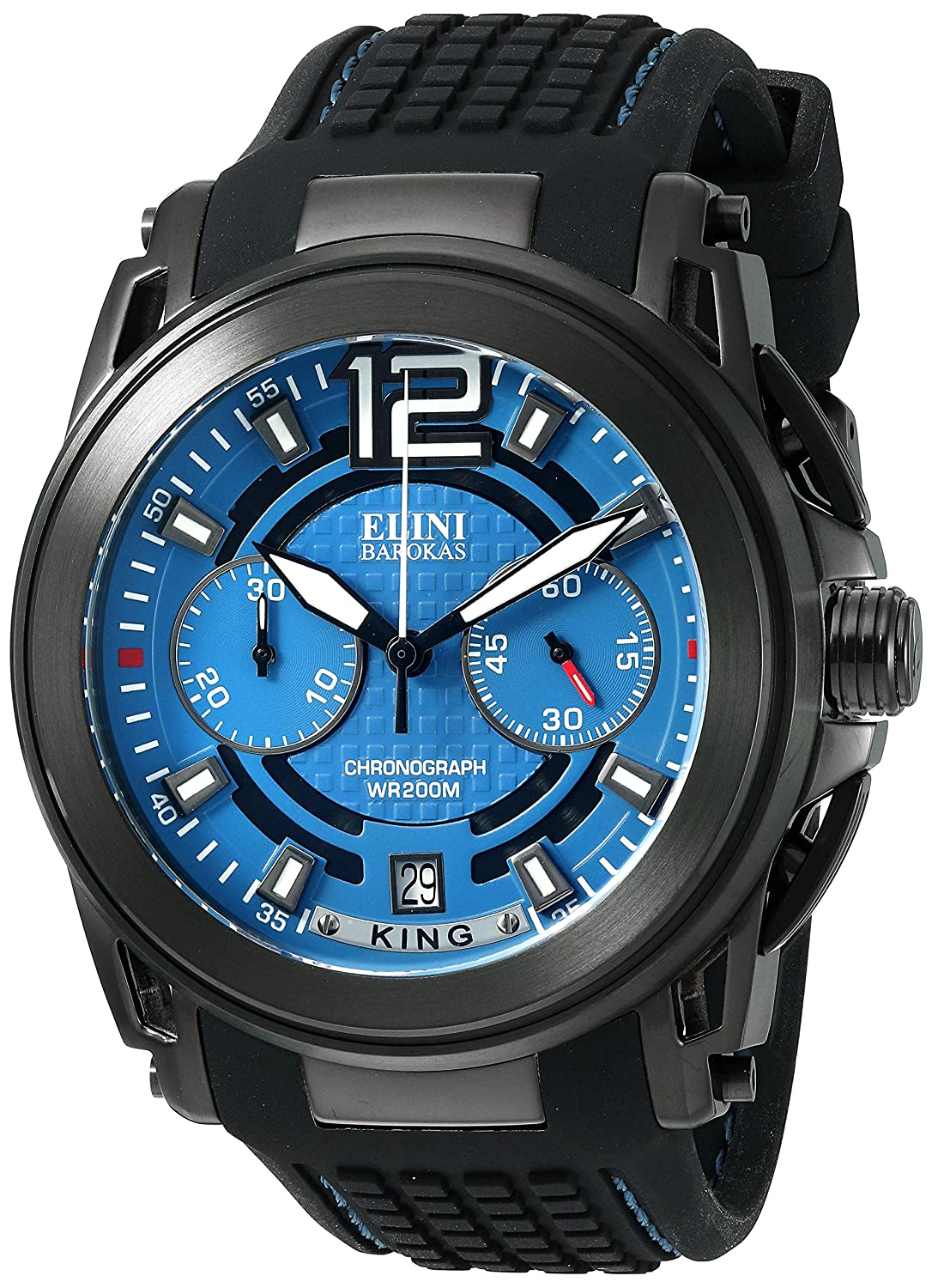 Amazon.com: Elini Barokas Men's 'King' Swiss Quartz Stainless Steel and  Silicone Watch, Color Black (Model: 20014-BB-03): Watches