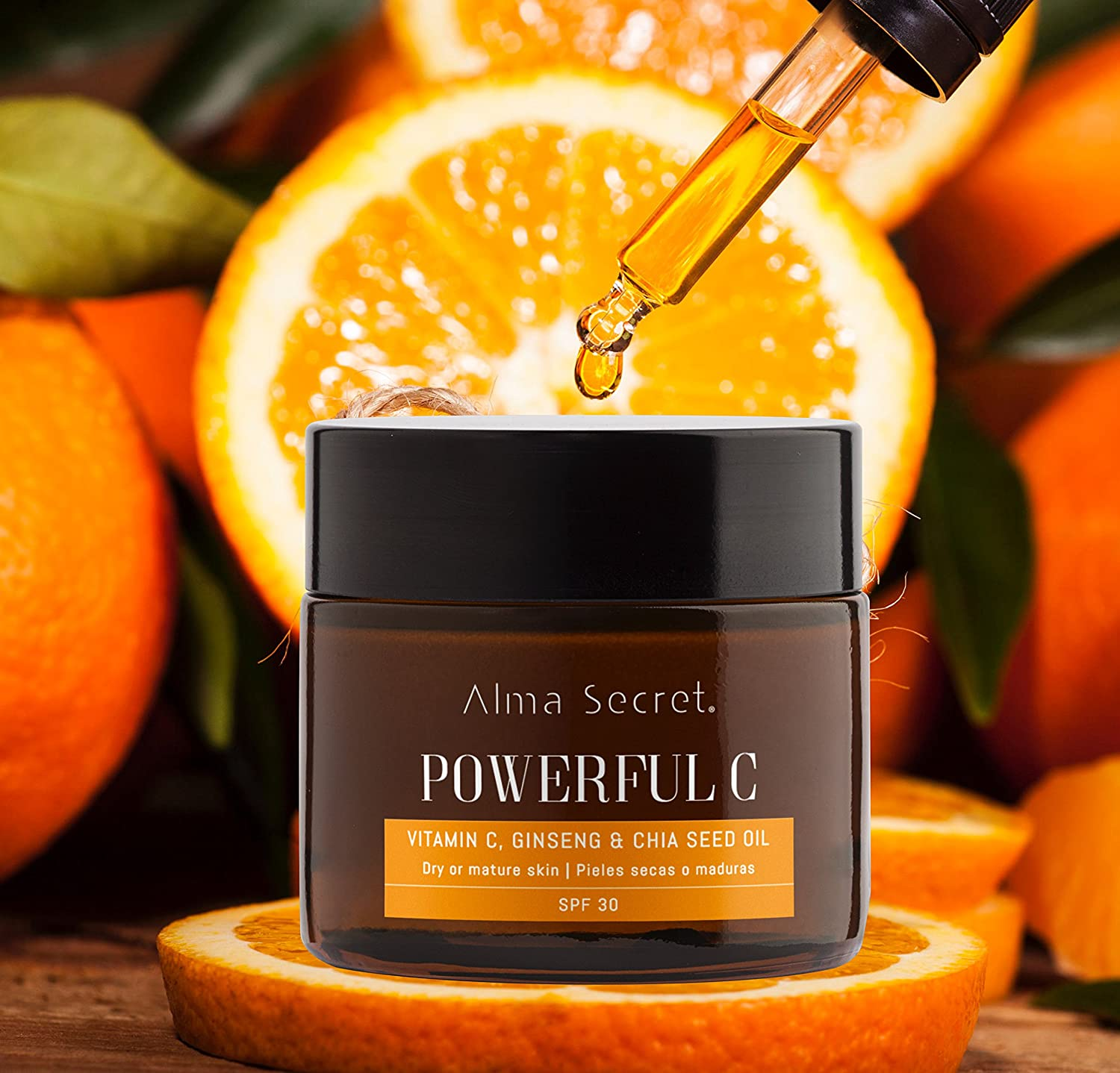 Alma Secret POWERFUL C Crema Iluminadora Antiedad con Vitamina C, Ginseng & Chía. SPF 30-50 ml