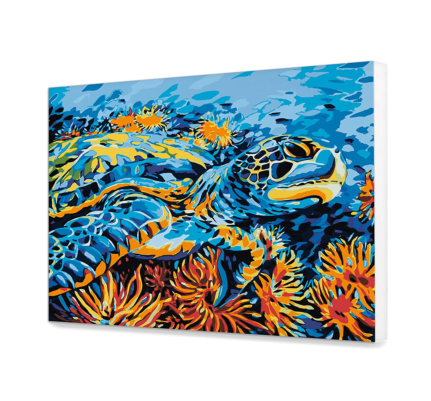 Turtle Painting By Numbers Acrylic Colorful Painting On Canvas Pop Art DIY Kit Adult Painting Ocean Home Decor Painting Wall Art Paint By Numbers