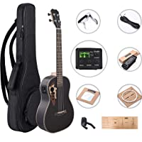 Caramel CB500 30 Inch All Rosewood Baritone Acoustic Electric Ukulele with Truss Rod with D-G-B-E strings & free G-C-E-A strings, Padded Gig Bag, Strap and EQ cable
