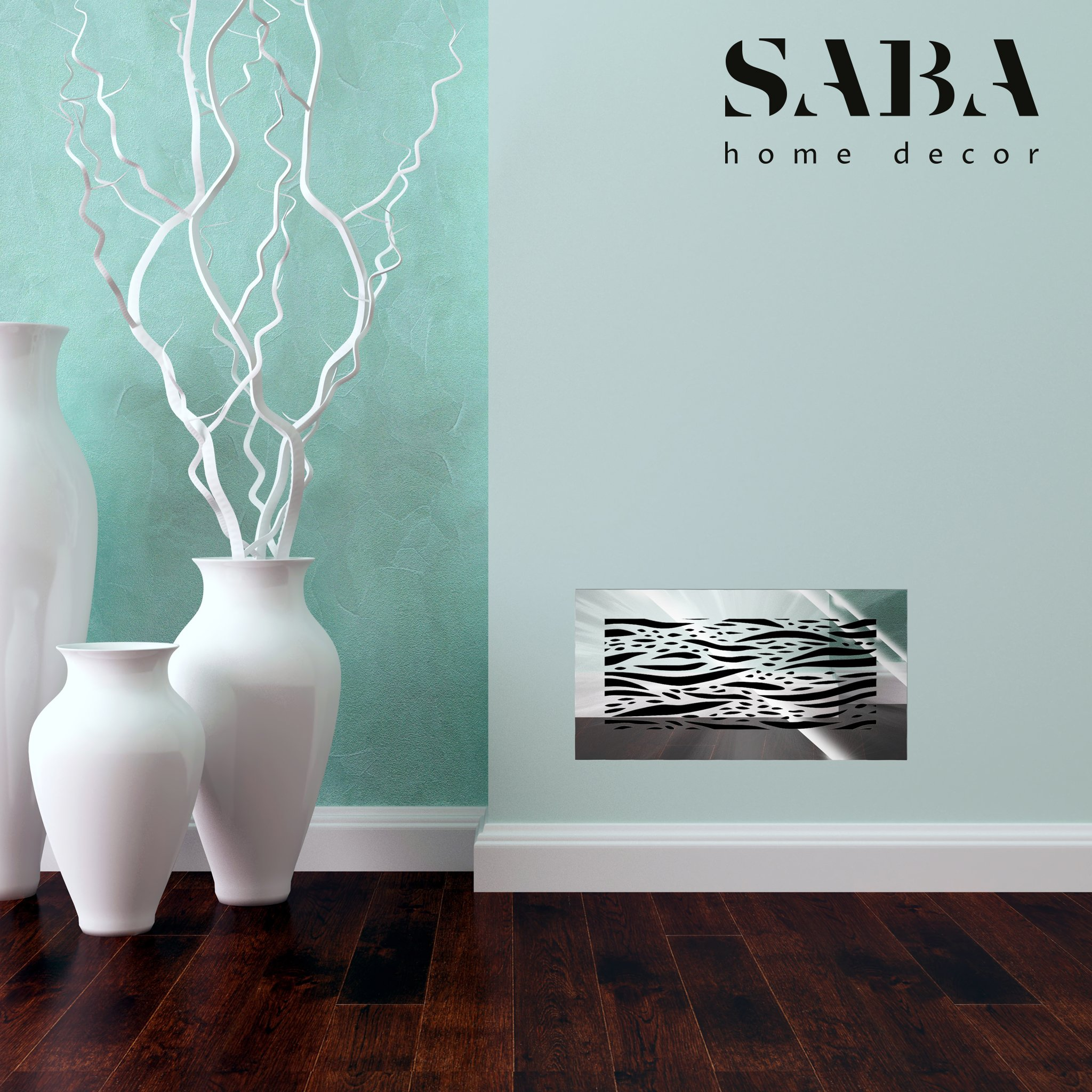 Saba Air Vent Covers Register - Acrylic Fiberglass Grille 10'' x 6'' Duct Opening (12'' x 8'' Overall) Mirror Finish Decorative Cover for Walls and Ceilings (not for Floor use), Waves by SABA Home Decor (Image #5)