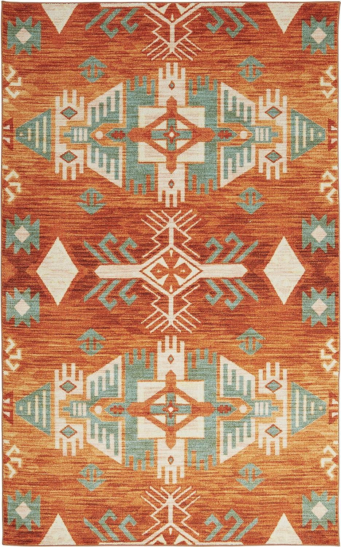 Amazon Com Mohawk Home Prismatic Eidenau Sunset Aztec Precision Printed Area Rug 8 X10 Orange And Green Furniture Decor