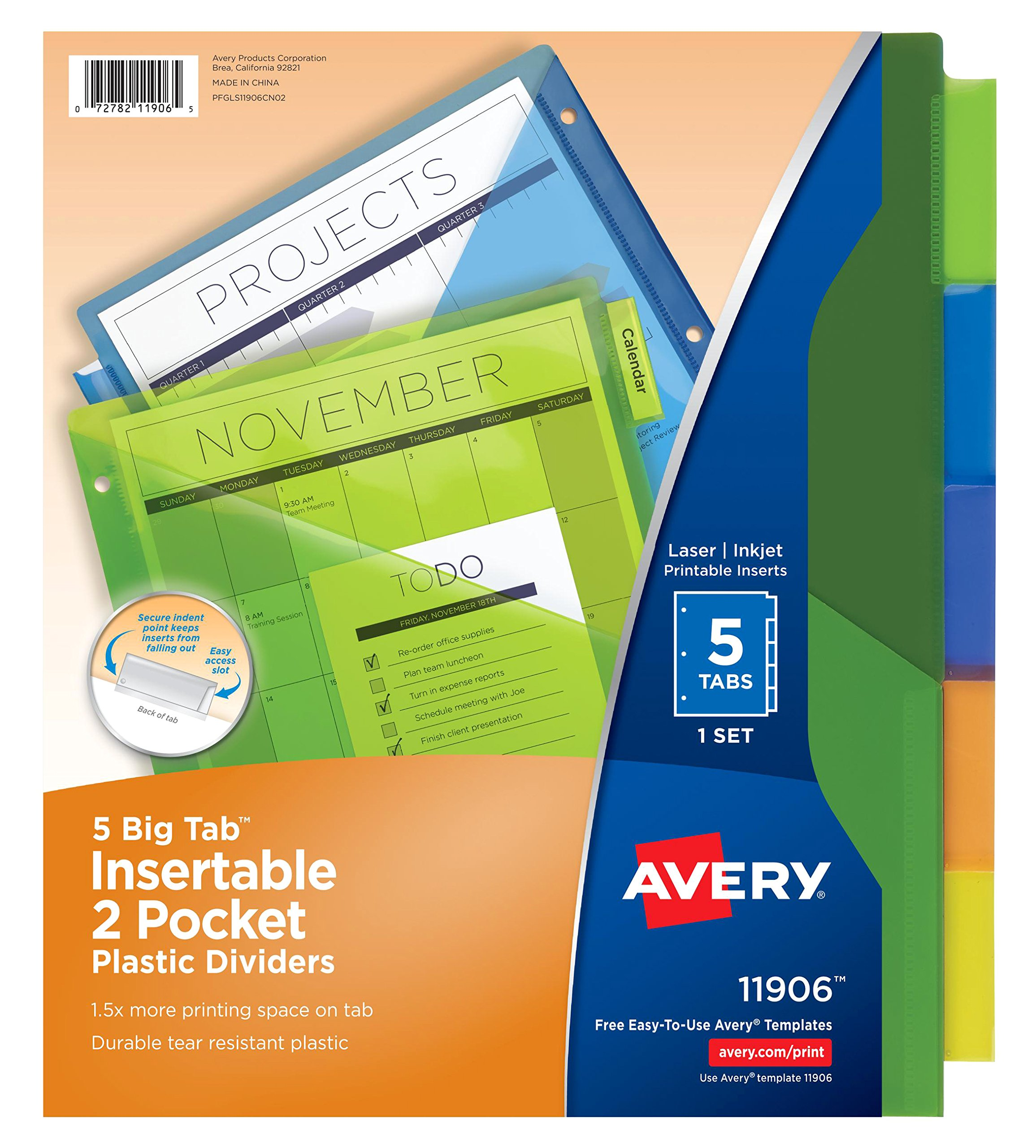 Avery Big Tab Insertable Two-Pocket Plastic Dividers, 5 Multicolor Tabs, Case Pack of 24 Sets (11906) by Avery