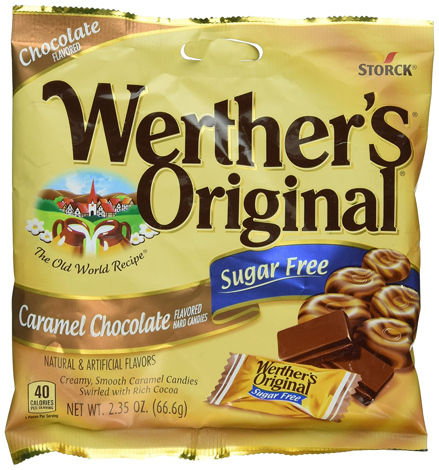 Werther's Original Sugar Free Candies, Caramel Chocolate, 2.35 Ounce