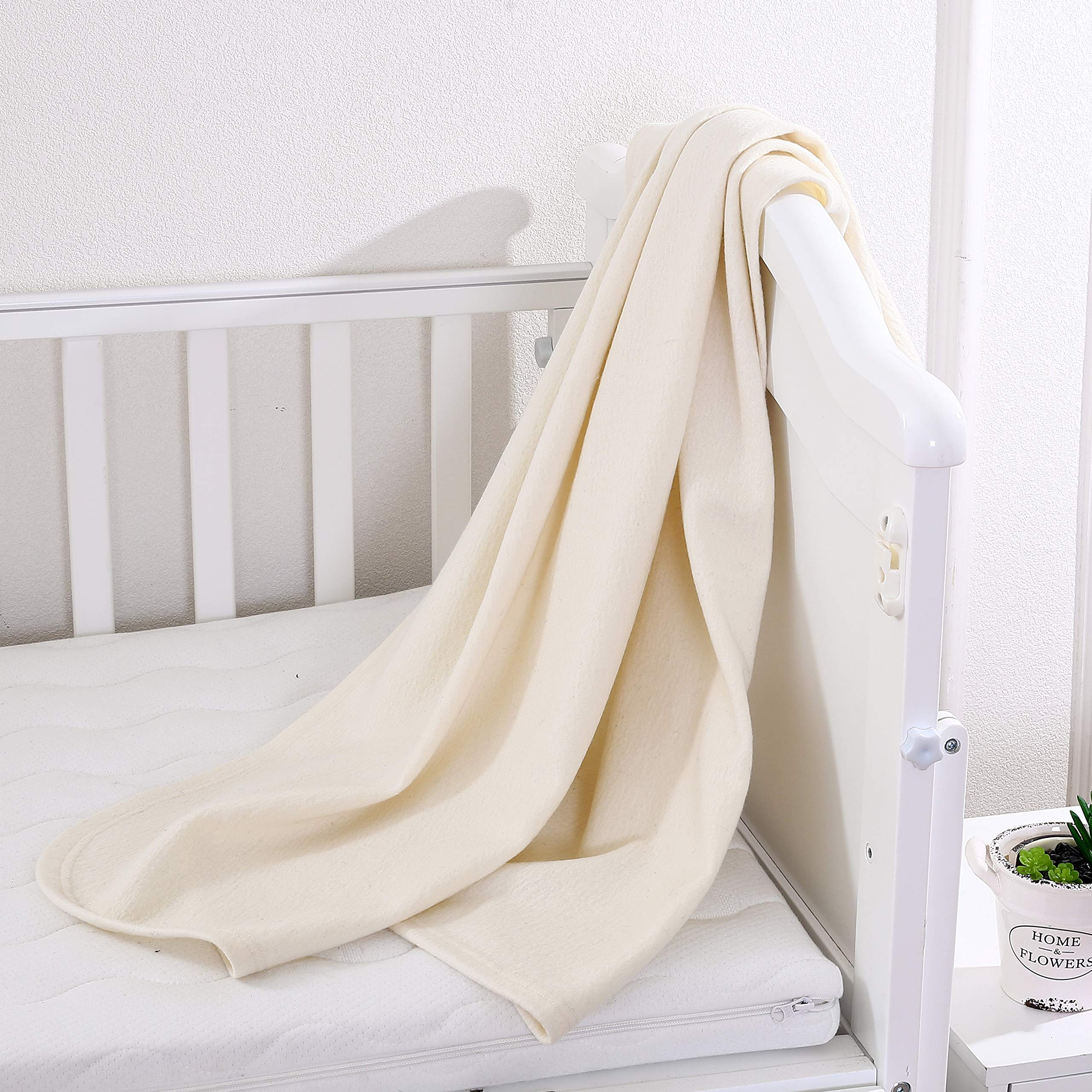 PuTian Kids Australian Merino Wool Blanket Throw for Kids Baby, Breathable, Ultrasoft, Lightweight, White, 41by39 inches by PuTian