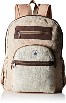 100% Pure Hemp Multi Pocket Backpack with Laptop Sleeve - Fashion Cute Travel School College Shoulder Bag/Bookbags/Daypack