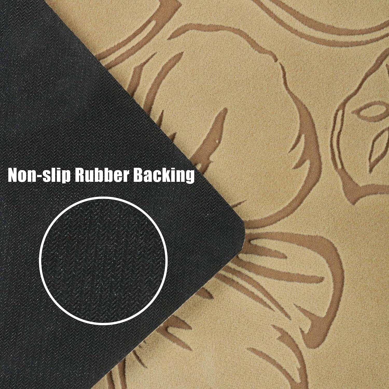 Aonewoe Flocking Runner Mat Slip Resistant Rubber Backing Hallway Mats Waterproof Oil-proof Kitchen Mats Washable Durable Beige Beige S, 45 x 70cm