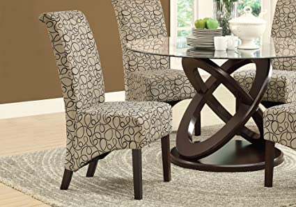 Ordinaire Monarch Specialties Swirl Fabric High Parson Chair, 40 Inch, Tan, Set Of