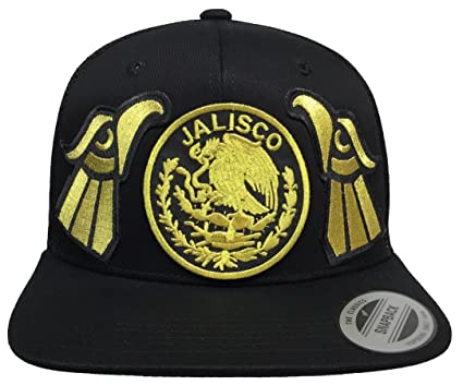 Jalisco Mexico 3 Logos EN Fente All Gold 2 New Eagle Hat Black Mesh ... d84553dc6bc