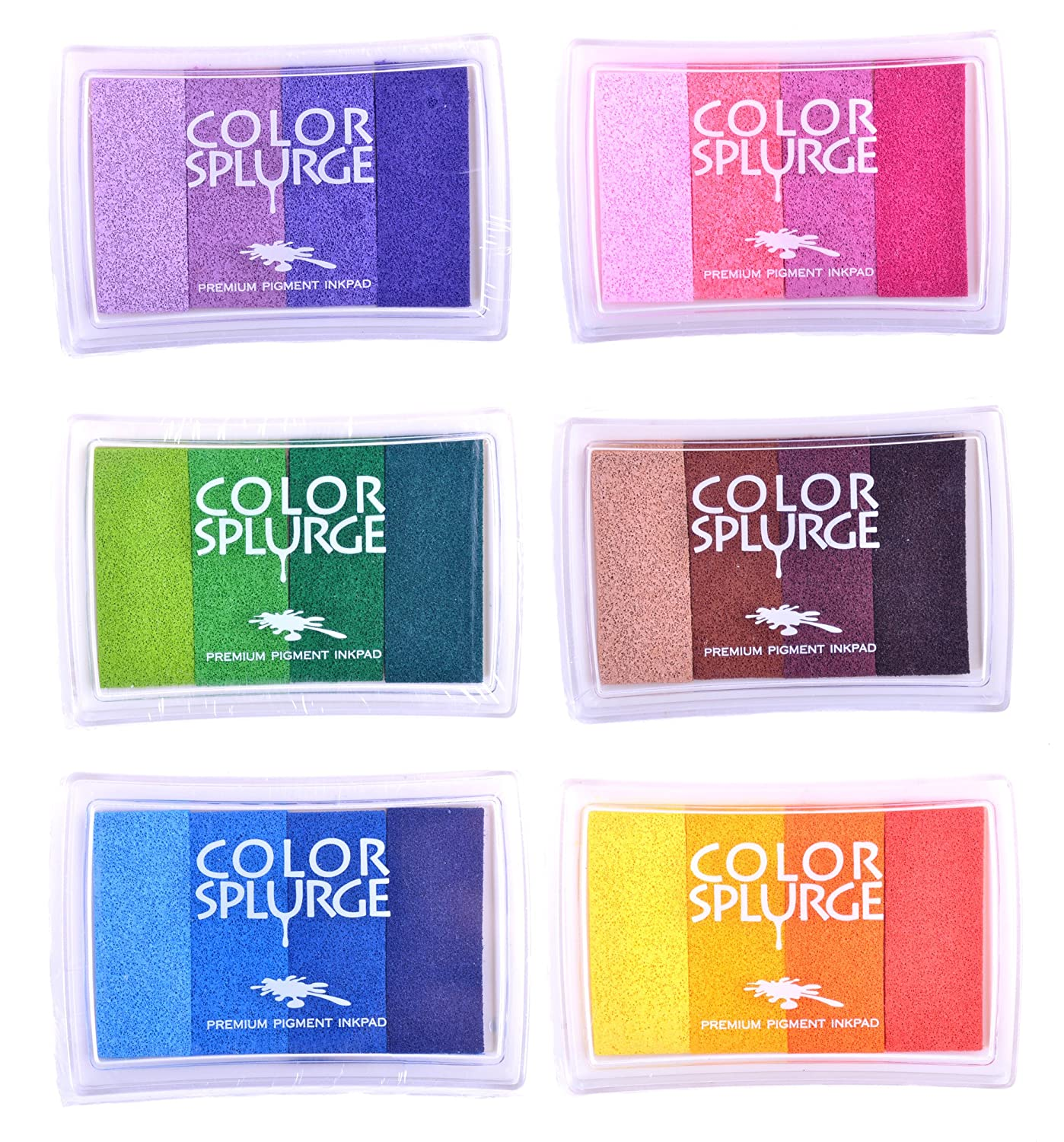 Rainbow Ink Pad Sets Included Kid's Tattoos While Stocks Last - 24 Shades of Beautiful Water-Based Colors - for All Ages & Infinite Uses Colour Splurge FBA_3423232