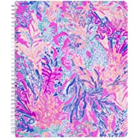 "Lilly Pulitzer Large Hardcover Spiral Notebook, 11"" x 9.5"" with 160 College Ruled Pages, Aquadesiac"