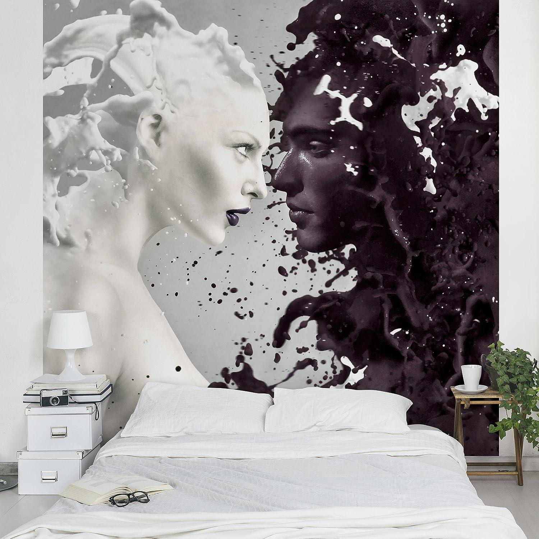 Apalis 95388 Vlies / Fototapete Milk und Coffee Quadrat | Vlies Tapete Wandtapete Wandbild Foto 3D Fototapete für Schlafzimmer Wohnzimmer Küche | Größe: 336x336 cm