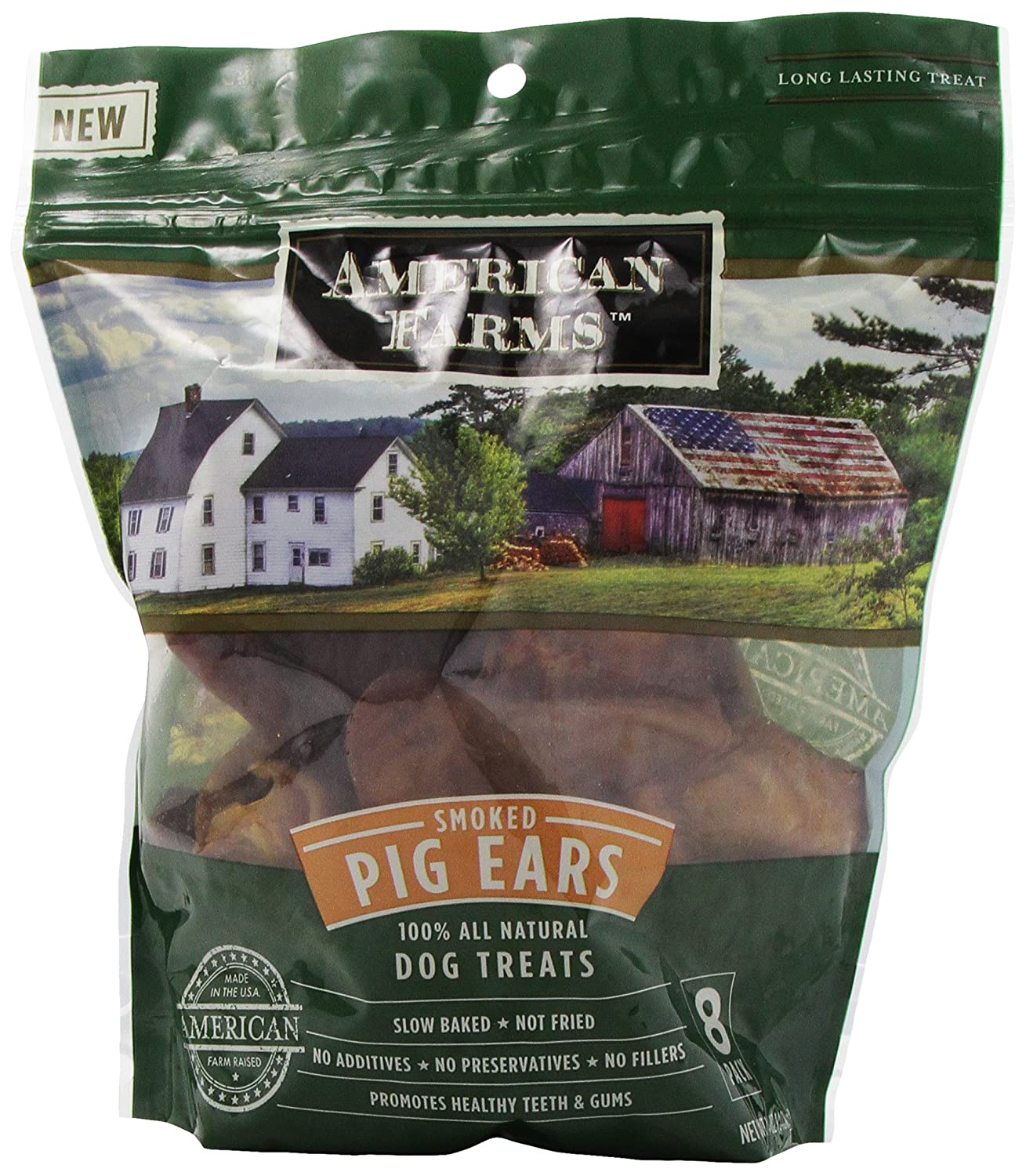 AMERICAN FARMS 100-Percent Pig Ears Bagged for Pets, 8-Pack