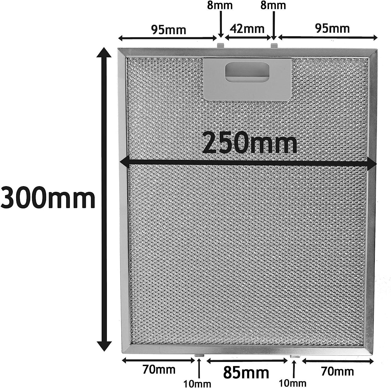 Pack de 2/filtros, Plata, 300/x 250/mm Spares2go Malla Met/álica Filtro para Gorenje campana extractora//cocina Extractor Ventilaci/ón