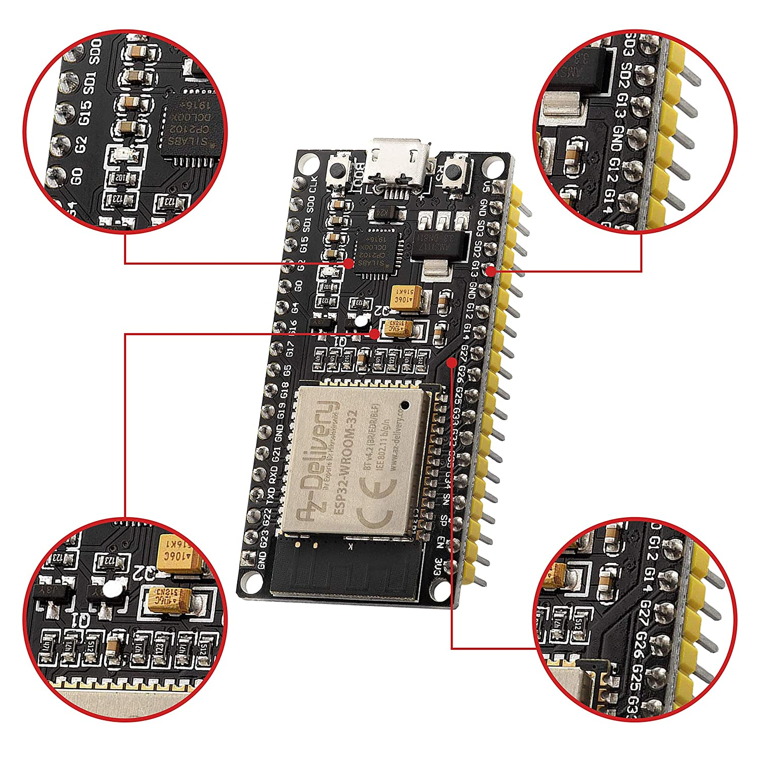 Azdelivery Esp32 Nodemcu Module Wlan Wifi Dev Kit C Development Board With Cp2102 Successor Model To Esp8266 And Includes E Book Business Industry Science