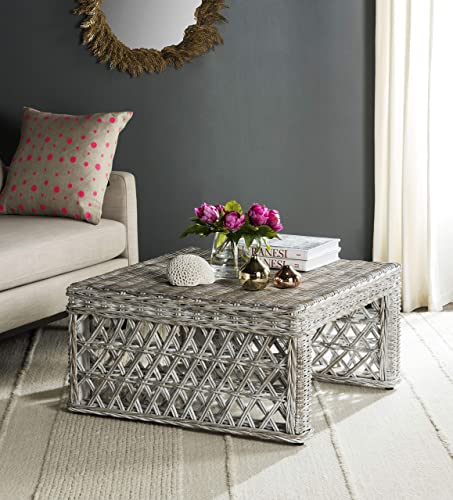 Safavieh Home Collection Hila White Wash Wicker Coffee Table