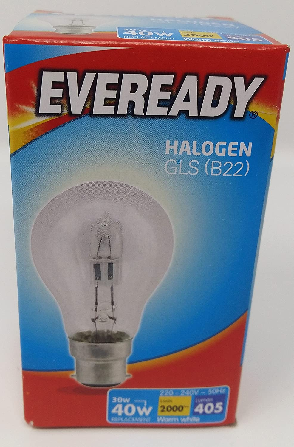 EVEREADY ECO HALOGEN GLS 30W (40W) 220-240V CLEAR BC B22 Pack of 4