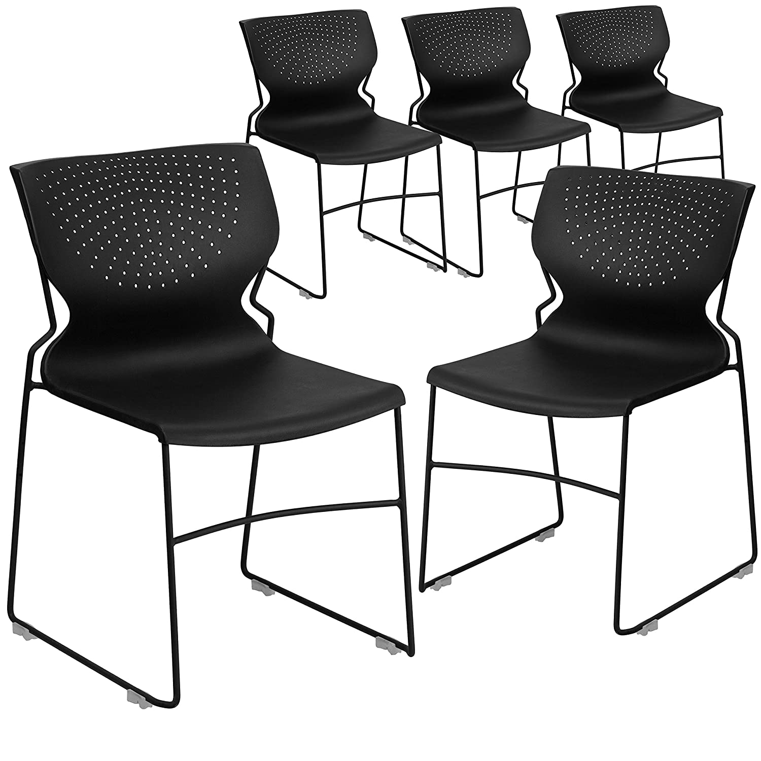 Flash Furniture 5 Pk. HERCULES Series 661 lb. Capacity Black Full Back Stack Chair with Black Frame
