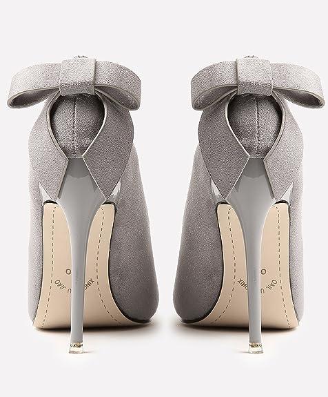 8cc5a6f88f5c1 Boda Zapatos Para Mujer Ante Tacones altos Dulce Bowknot Stiletto Fiesta  Zapatos de tacón De BIGTREE  Amazon.es  Zapatos y complementos