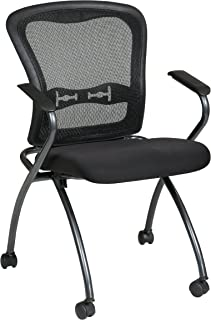 Office Star Deluxe Breathable ProGrid Back FreeFlex Coal Seat with Arms Folding Chair with Casters  sc 1 st  Amazon.com & Amazon.com: Office Star Deluxe Ventilated Plastic Back amd Padded ...