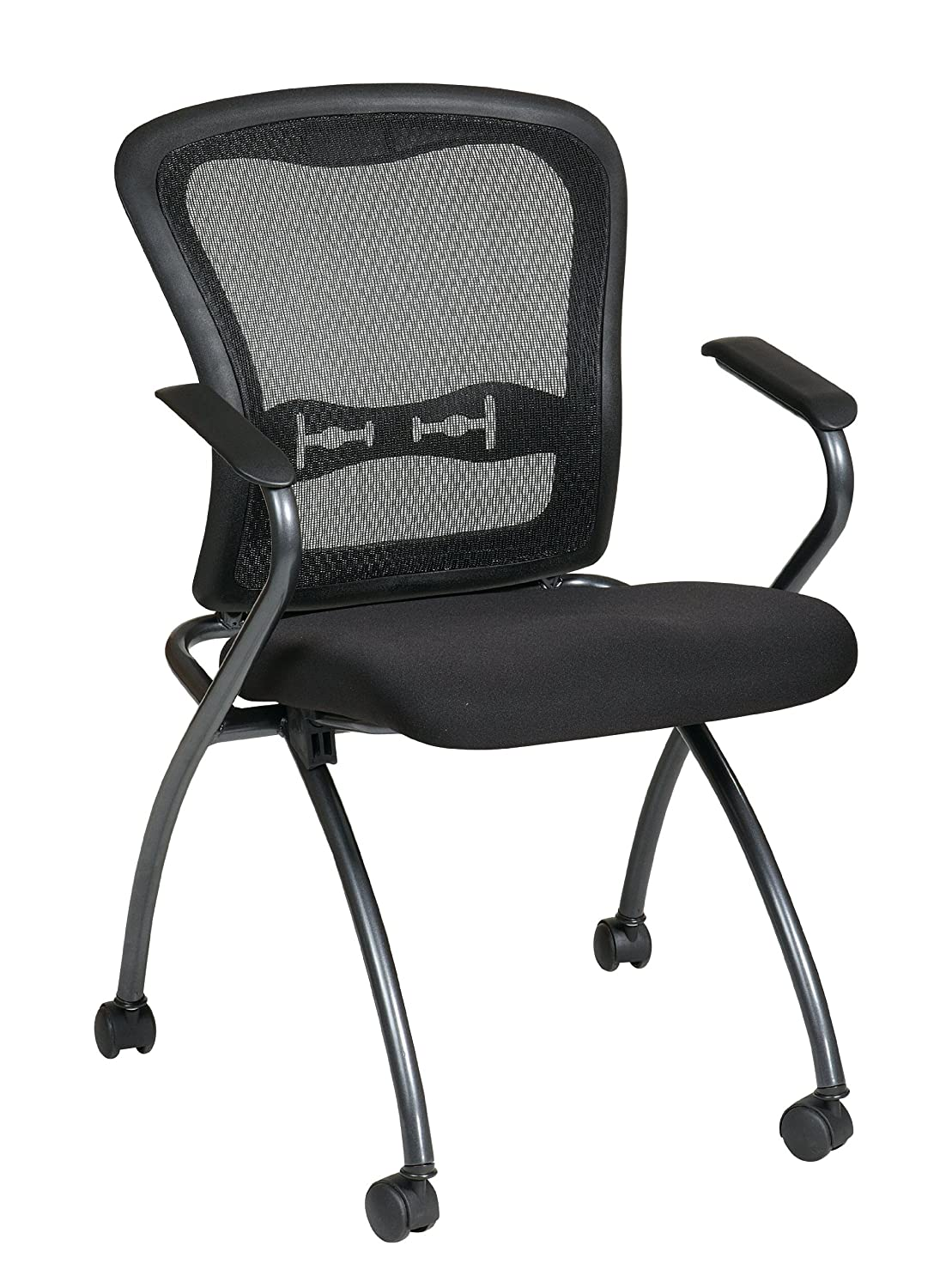 office star deluxe folding chair with progrid back and arms in titanium 2 pack ebay. Black Bedroom Furniture Sets. Home Design Ideas