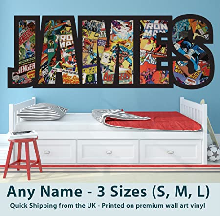 Beautiful Childrens Name Wall Stickers For Boys/Girls/Kids Bedroom   Any Name In  Marvel