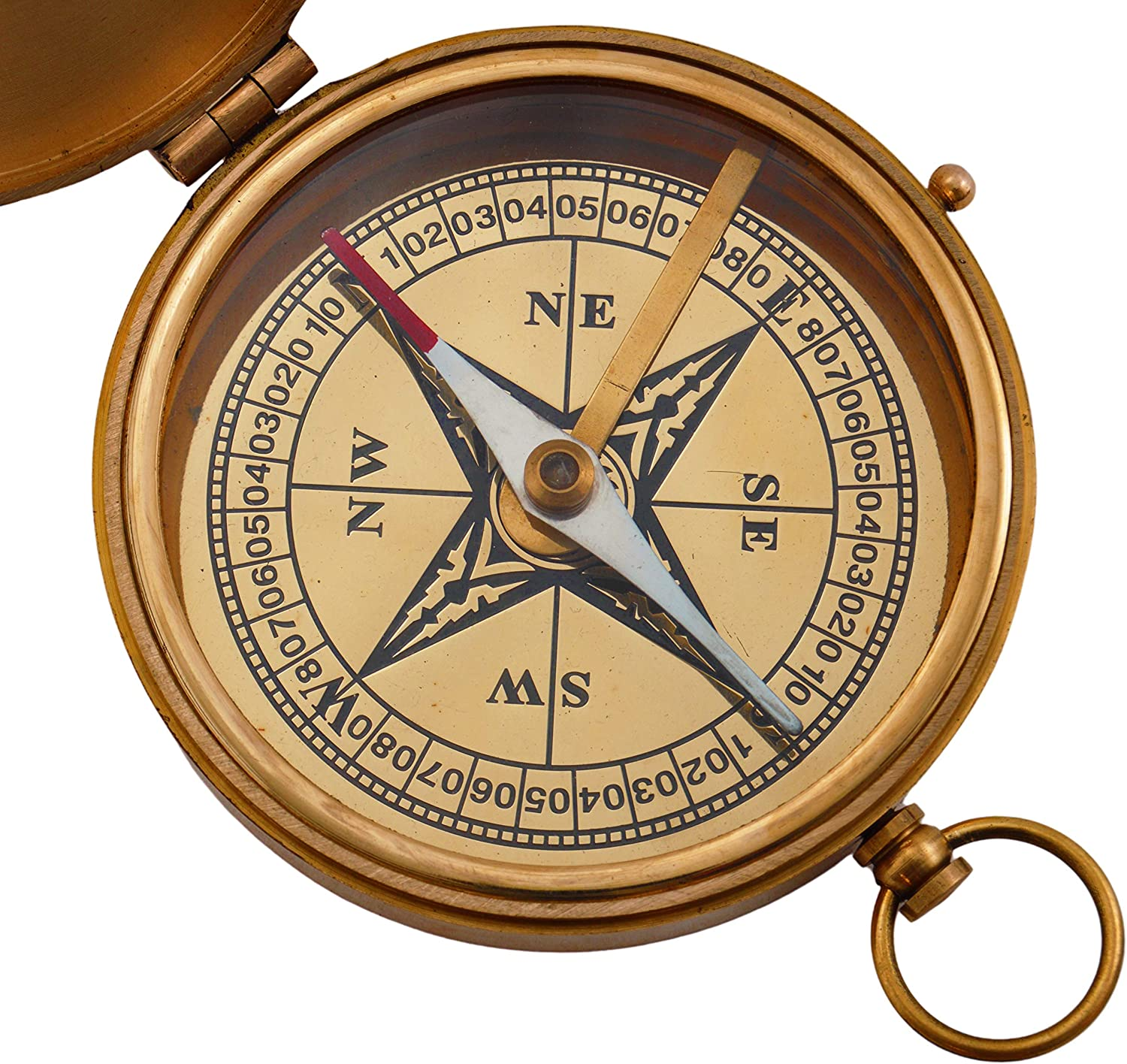 SciencePurchase Large 4 Brass Compass with Rosewood Storage Box Fully Functional Nautical Pirate Cosplay Costume Decoration