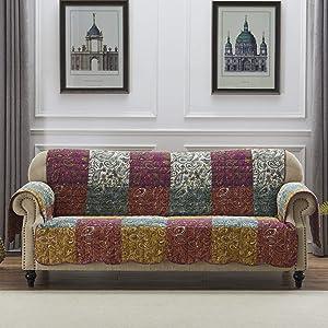 Barefoot Bungalow Paisley Slumber Furniture Protector Slipcover, Sofa, Spice