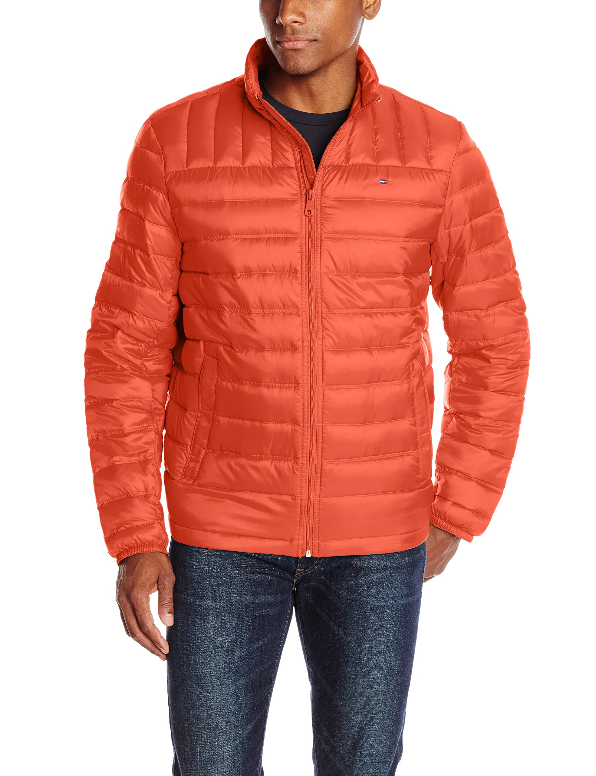Tommy Hilfiger Men's Packable Down Jacket (Regular and Big & Tall Sizes), Orange, Small by Tommy Hilfiger